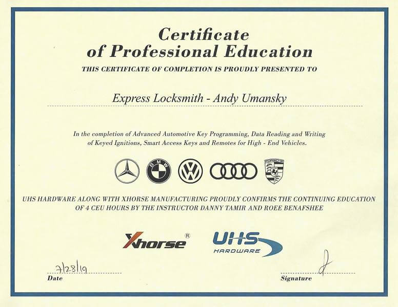 limu express certificate german car