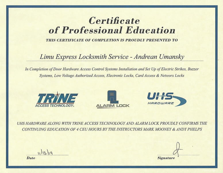 limu express certificate