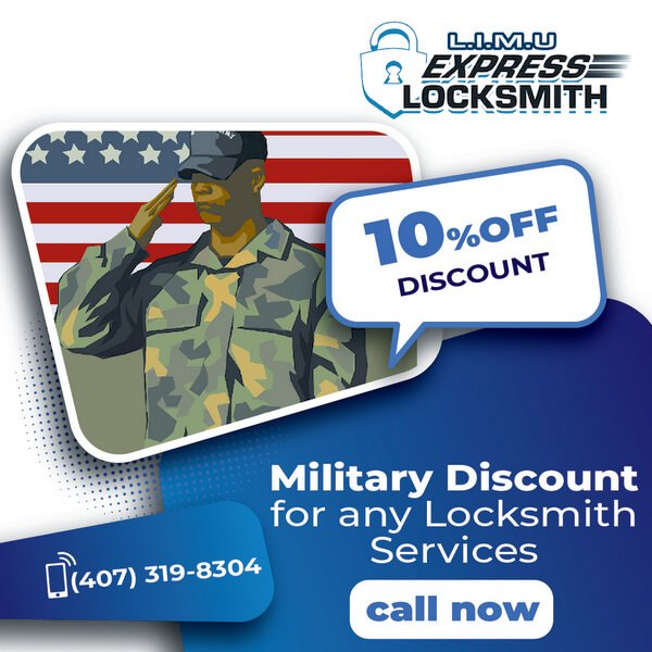 10%OFF - Military - Any Locksmith Services with providing Military ID